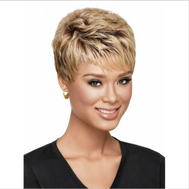 W12 Fashion Gold Brown Color Soft Curly Synthetic Hair Wigs for Women Full lace Wigs Short Blonde Wig Queen Hair Products(China (Mainland))