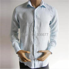 Washable Mens Dress Shirts Breathable Summer Mens Business Shirts Linen Material Long Sleeve Design High Qualty QR-0016(China (Mainland))