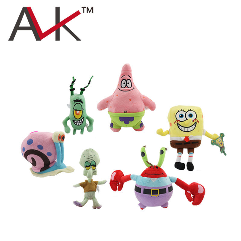 super cute soft plush Spongebob,Patrick star,Squidward,Tentacles,Mr. Krab,Sheldon Plankton Gary Toys gift for children(China (Mainland))