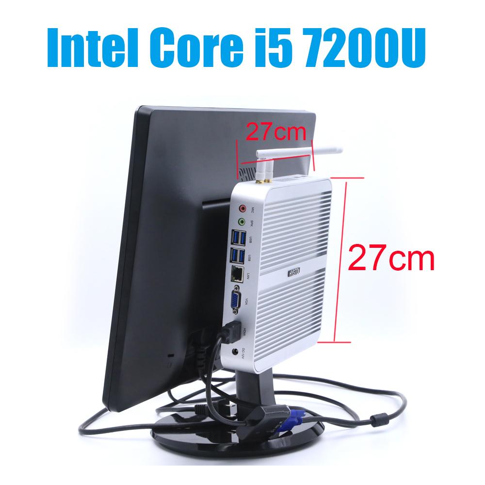 Fanless Core i5 7200U Mini PC Windows 10 Nettop NUC i5 Small Linux PC i3 7100U Set Top Box 7Th Gen Kaby Lake Intel Computer Mini(China (Mainland))