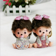 Monchichi sleutelhanger Rhinestone Monchhichi gold metal keychain creative Crystal Key Holder Ring Bague porte clef ZKMCC2S