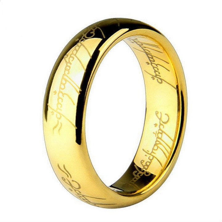 Hot Movie Men's finger Rings The one ring Titanium stainless steel ring gold Ring 6MM for men's gifts wedding men jewelry Unisex(China (Mainland))