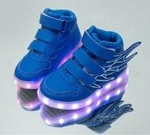 UncleJerry ילדים אור עד נעלי עם אגף ילדי Led נעלי בני בנות זוהר זוהר סניקרס USB טעינה ילד אופנה נעליים(China)
