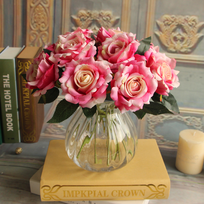 High simulation short branched artificial peony bouquet silk flannel rose flower for home decoration table decoration flowers(China (Mainland))