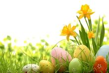 200Cm*150Cm Easter Photography Backdrops Eggs Green Flowers Photo Sunday Zj - Art photography Background store