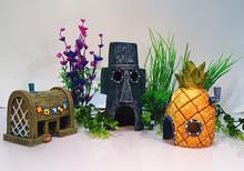 Spongebob Aquarium Decoration Fish Tank Ornaments Set of 3 Pineapple House & Squidward Easter Island & Krusty Krab(China (Mainland))