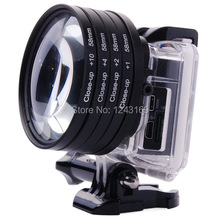 58mm close up macro lens + 1 + 2 + 4 + 10 lens filter per gopro hero 3 custodia LF441-SZ  (China (Mainland))