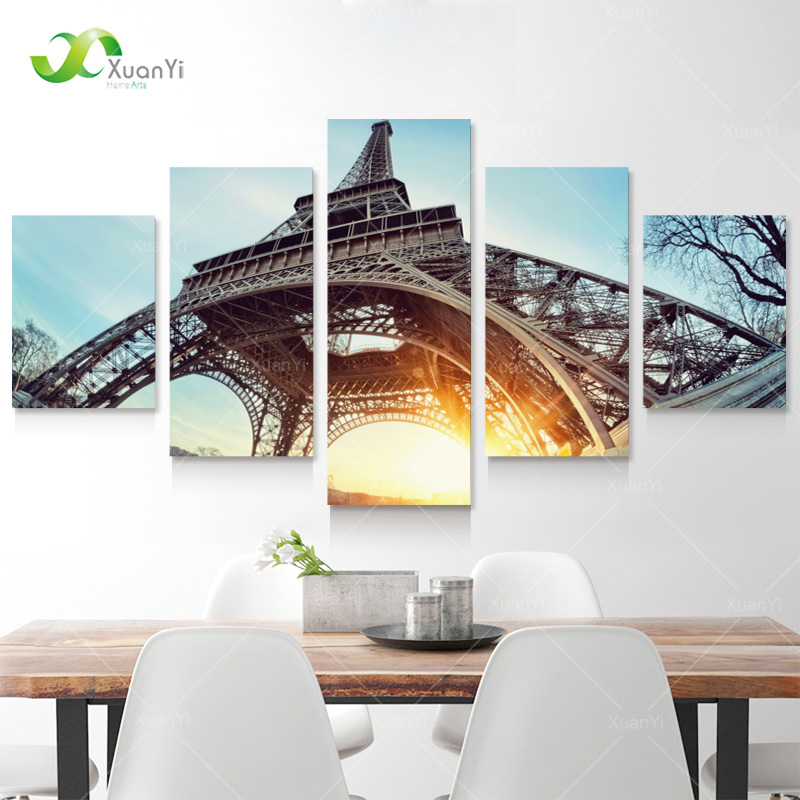 5 Panel Wall Paintings Modern Printed Paris Eiffel Tower Landscape Oil Painting Wall Art Picture For Living Rom No Frame PR1130(China (Mainland))