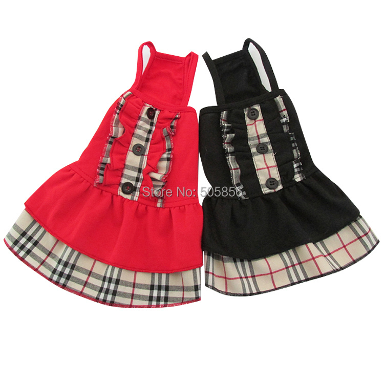 New arrival Red/Black/Gray 100% cotton dog dress pet clothes Plaid design,5 sizes available(China (Mainland))