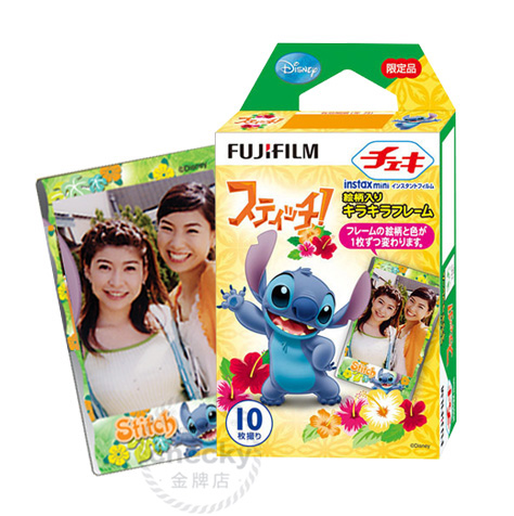 (10 sheets)Fujifilm Stitch cartoon instant photo papers mini7S/25/55 mini films intax stitch - Graceful World store
