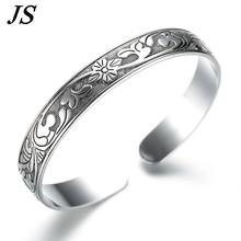 JS Vintage Imitation 999 Silver Bracelet Female Opening Carved Brazalete Boho Cuff Bangle Mens Jewlery Pulseras Mujer SB021(China (Mainland))