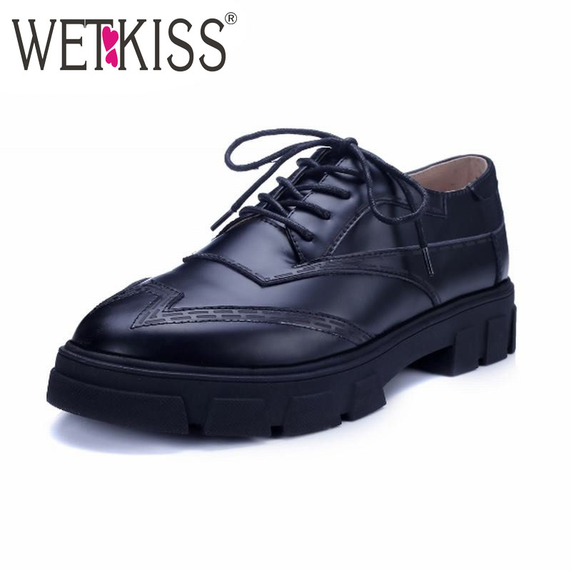 High Quality 2016 Genuine Leather Flats Shoes Fashion Western Style Flats Spring Thick Sole Platform Shoes