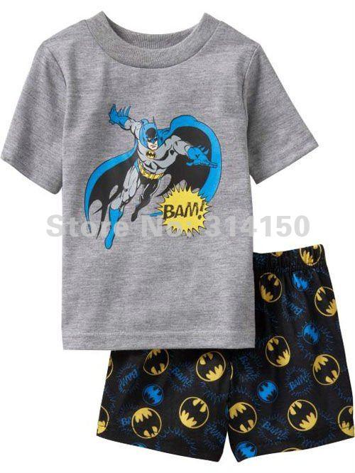 FREE SHIPPING-- NEW boys sleeping wear sets 2pcs pajamas sets baby nightwear short sleeve t-shirts+shorts cartoon 1set/lot(China (Mainland))
