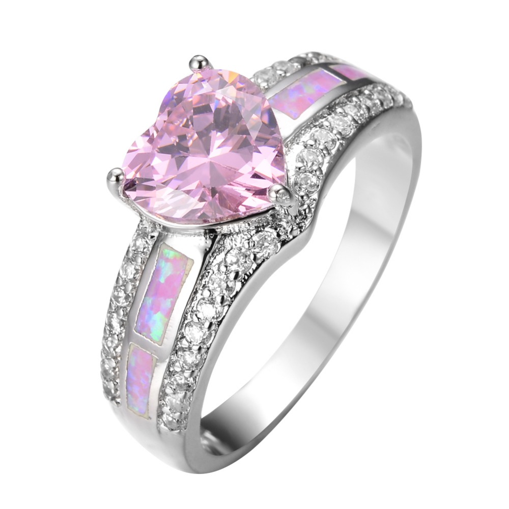 Size 6/7/8/9 Unique Heart Design Crystal Pink Sapphire Engagement Rings for women White Gold Filled Jewelry Wholesale RP0040(China (Mainland))