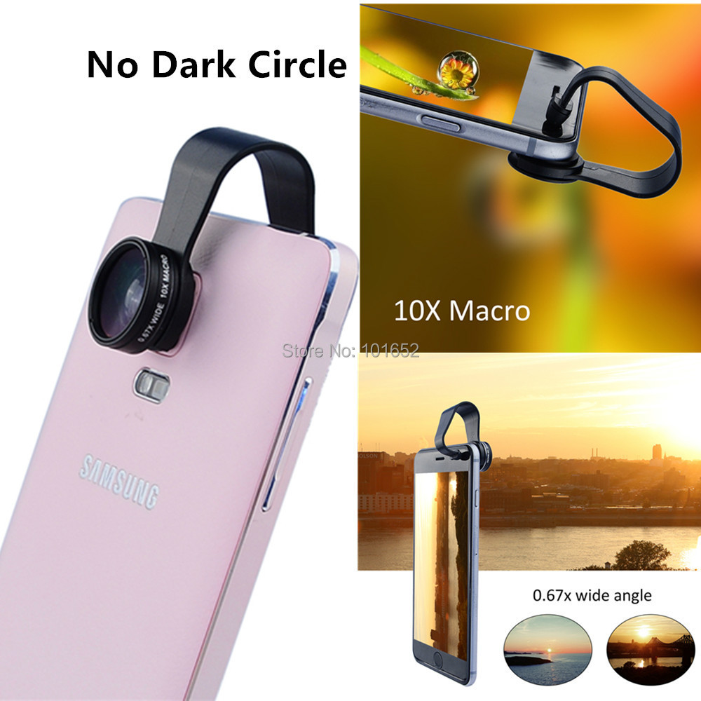 (No Dark Circle) Mobile Phone Lens Clip 0.67X Wide Angle Lens + 10X Macro Lens For iPhone 6 Plus 4 5 5S Galaxy S4 S5 APL-WM6710