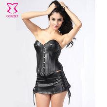 Faux Leather Corset Dress Gothic Steampunk Clothing Bustier Top Matching Mini Skirt Set Sexy Women Burlesque Dress Drancewear