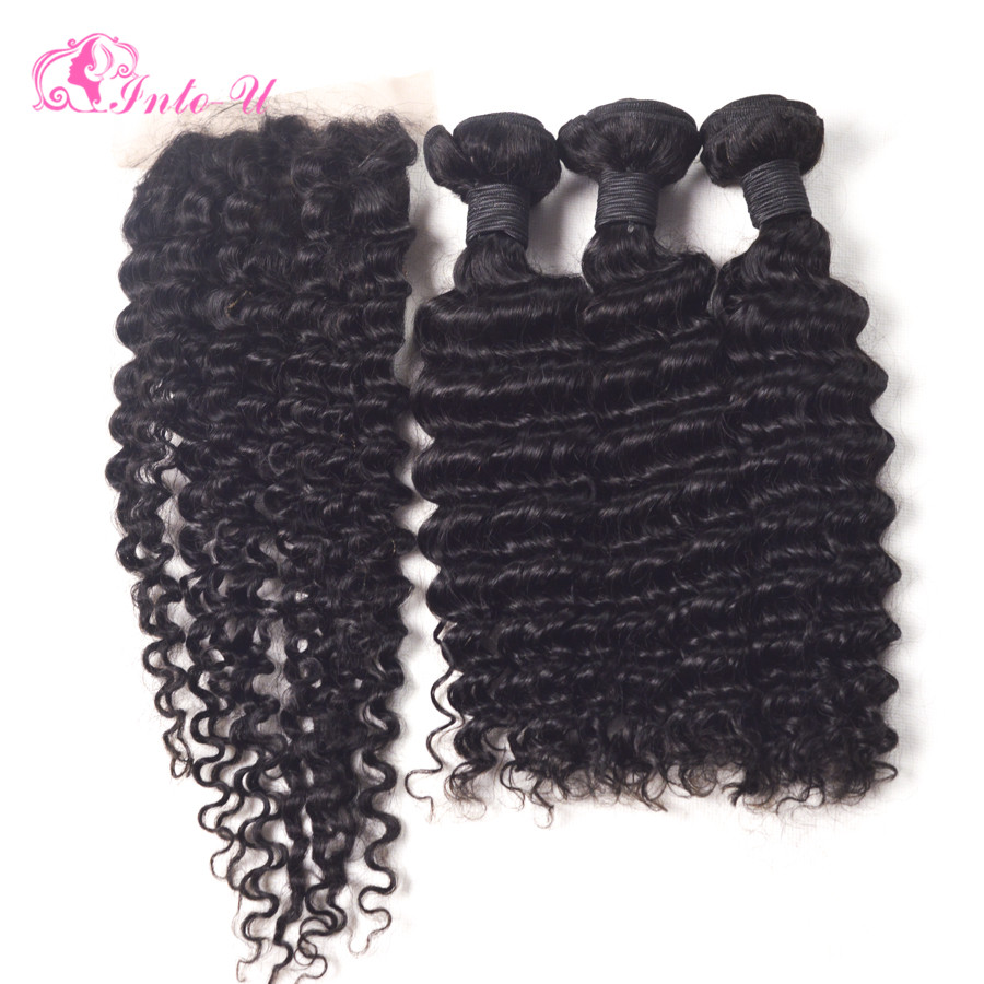 Brazilian Deep Wave With Closure 3 Bundles With Silk Closure Cheap Brazilian Deep Curly Virgin Hair With Closure Free Shipping<br><br>Aliexpress