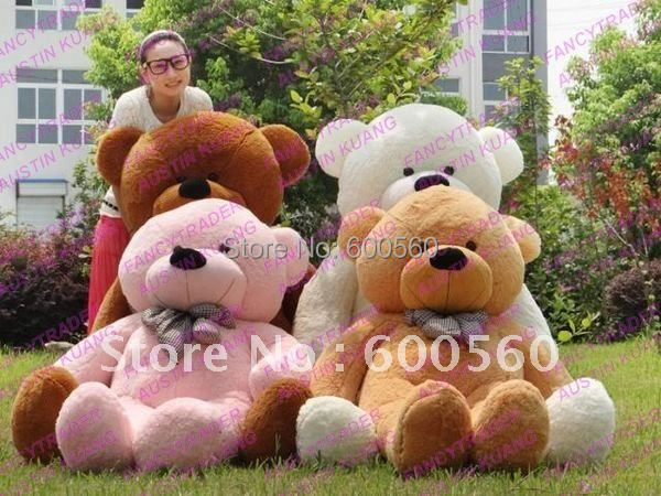 Fancytrader Low price! JUMBO 78 INCHES (200cm) Giant Plush Stuffed Teddy Bear Stuffed Bear 4 Colors Free Shipping FT90056(China (Mainland))
