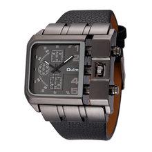 OULM Marca Original Design Exclusivo Homens Quadrados Relógio De Pulso De Largura Big Dial Pulseira de Couro Ocasional Relógio de Quartzo Masculino Relógios Esportivos(China)