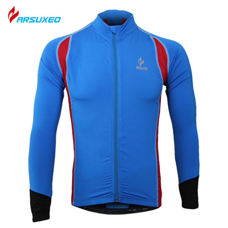 ARSUXEO Men's Breathable Outdoor Cycling Jersey Sporwear Bicycle Bike Running Quick Dry Clothing Long Sleeve Sports Jersey Tops(China (Mainland))