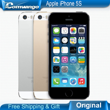 Original Unlocked Apple iPhone 5S phone 16GB / 32GB ROM 8MP camera 1136×640 pixel WIFI GPS Bluetooth Cell phone multi language