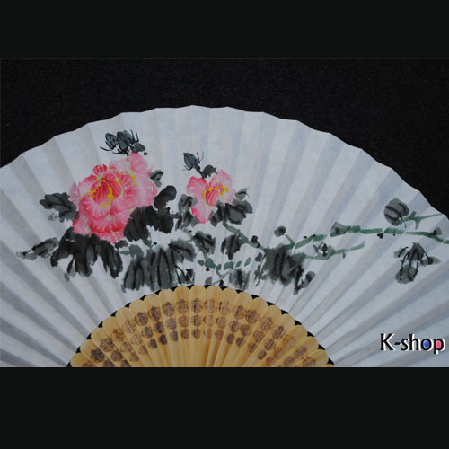 Entirely Made By Hand, Korean Traditional Artists,Oriental Charm, Calligraphy Work, Folding Fans  oriental flower SF011