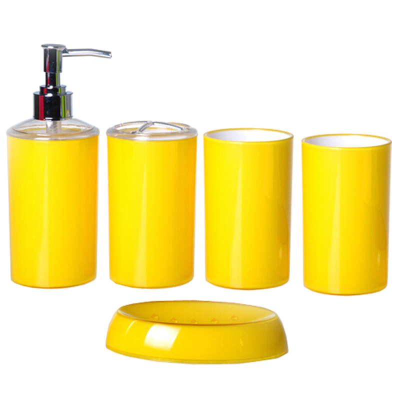 Fashion candy color simple style bath accessories yellow for Coloured bathroom accessories set