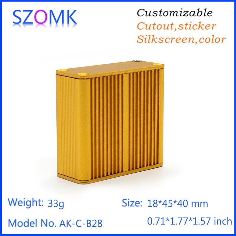 20 pieces a lot , golden color , aluminium extrusion 18.5*45*40MM 0.75*1.77*1.57inch top sales small aluminum enclosure<br><br>Aliexpress