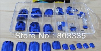 Free Shipping 120pcs/set Metallic Toe nail Tips  Professional DIY Shining Nails 7 colors option