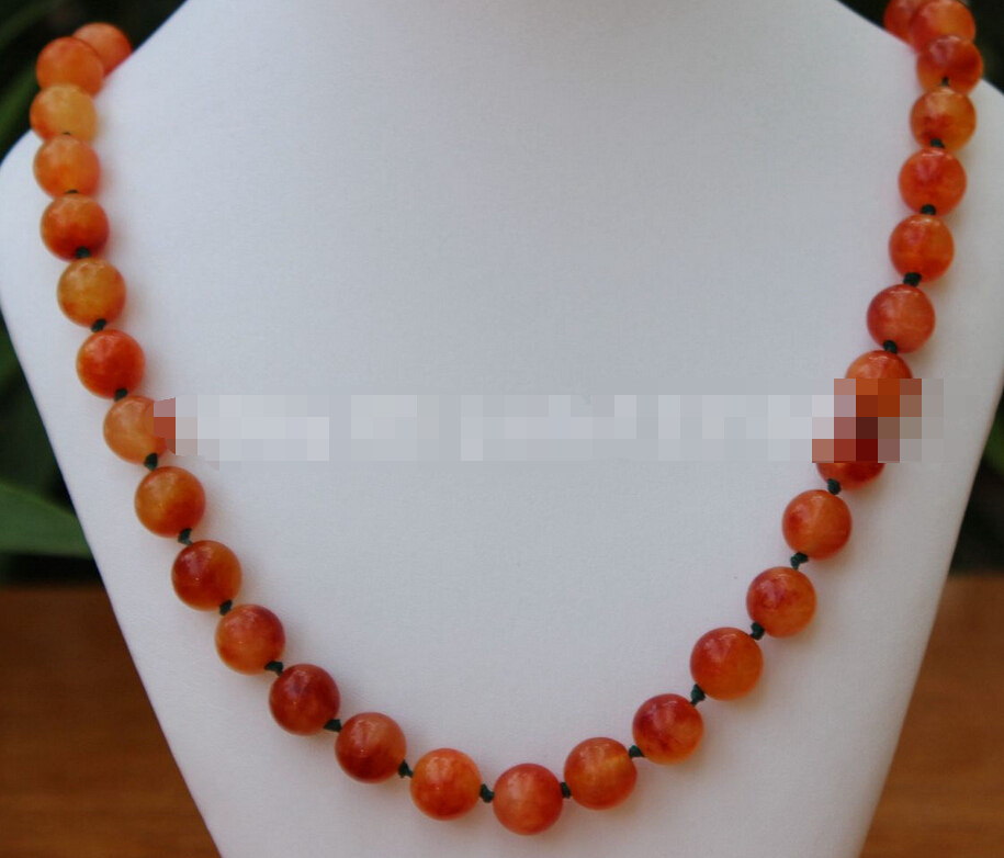 0094 INCH FASHION BEAUTIFUL CHINA YELLOW ORANGE JADE GEMS NECKLACE(China (Mainland))
