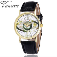 Vansvar Fashion Solar System Watch Unisex Casual Space Astronomy Wrist Watches Women Leather World Map Quarzt Watches Gifts V21