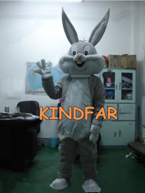 Easter Bugs Bunny Rabbit Mascot Costume Fancy Dress Outfit Cartoon Character Party Suit Free Ship(China (Mainland))