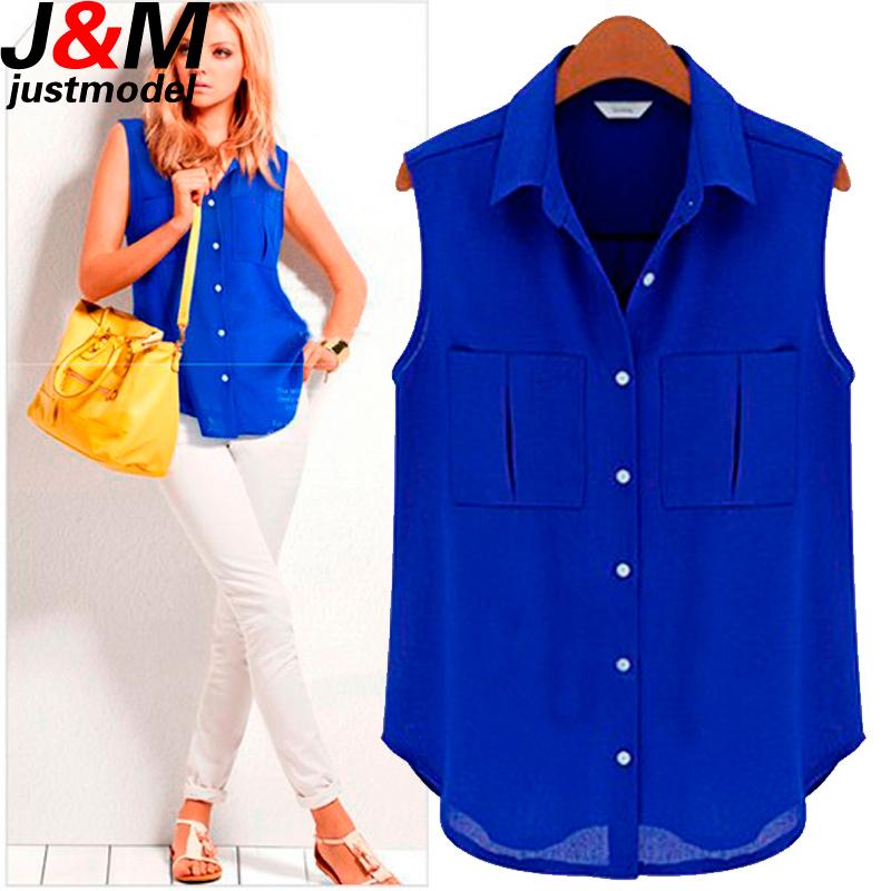 Women Chiffon Blouses 2015 Ladies Summer Tops Woman Fashion Sleeveless Casual Shirts Female Work Wear Office Blouses Shirts(China (Mainland))