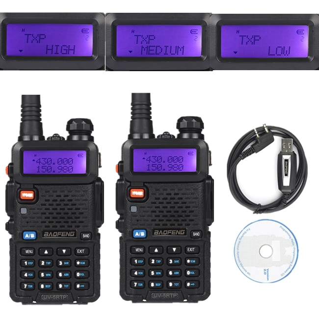 2x Baofeng UV-5RTP VHF/UHF 136-174/400-520MHz FM High Power 1/4/8W Two-way Ham Radio Walkie Talkie + Programming Cable&CD(China (Mainland))
