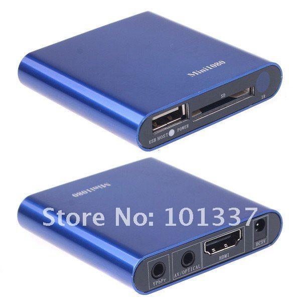 Mini Car Media Player 1080P HDMI AV SD/USB HD Media Player,AD Player H.264/MKV/RM/RMVB free Car adapter free shipping Wholesale(Hong Kong)