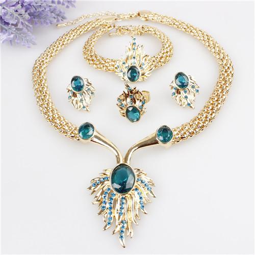 Gold Jewelry Sets Bracelets Necklace Earrings