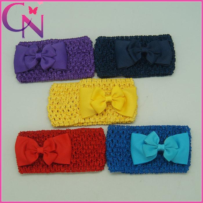 Hot Sale Girls boutique Hair bow Baby Soft Crochet Headbands children Headbands 5 colors 50pcs/lot Free Shipping CNHB-13083119(China (Mainland))