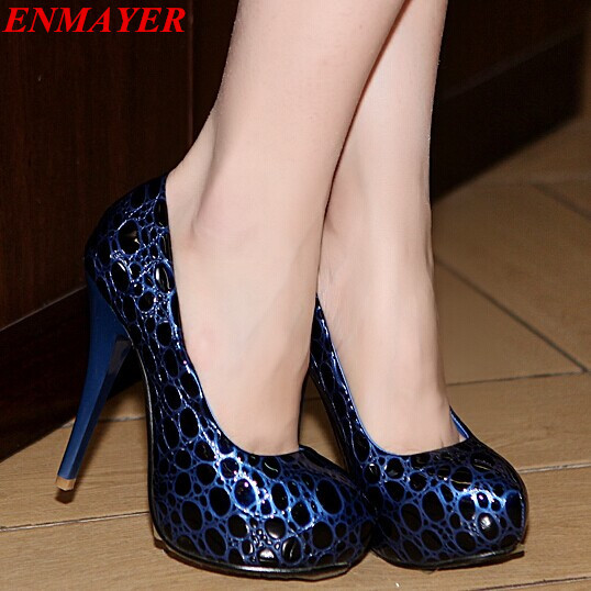 ENMAYER  HOT 2015 new sexy pu leather red bottom shoes womens pumps thick platform high heels wedding shoes Black Blue Red  <br><br>Aliexpress