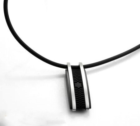 Free shipping fashion jewelry Mens Tatanium steel silicone necklace with pendant in black plated for man