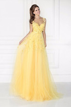 elegant beautiful yellow  long evening dress 2016 sweetheart  beaded a line women formal pageant gown for prom party vestido(China (Mainland))