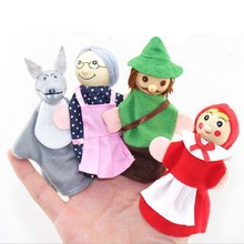 Buy 4Pc Hand Finger Puppets Kids Little Red Riding Hood Storytelling Veludo Props Hand Puppet Baby Toys Children Hand Puppet for $2.25 in AliExpress store