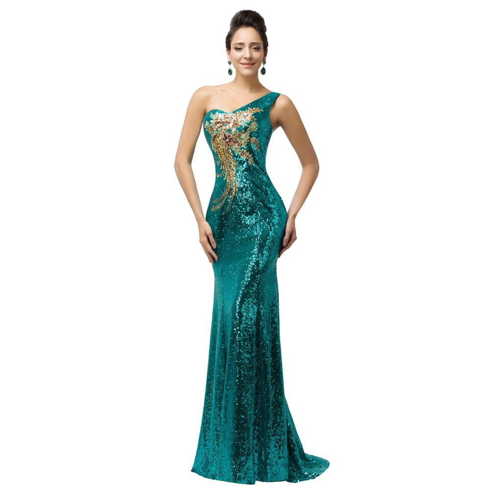 Grace Karin Evening Dresses Long 2016 One Shoulder Mermaid Gowns Sequin Bandage Celebrity Dress Vestidos Noche 7545 - Co. Limited store