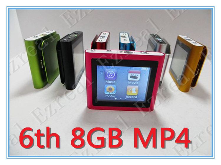 Best Multicolor 5pcs/lot 6th mp3 mp4 player 8GB 1.8 inch Touch Screen With FM,TEXT reader, recorder +Free shipping full set(China (Mainland))