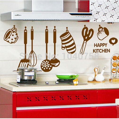 Cucina wall sticker decal utensili da cucina adesivi per piastrelle a ...