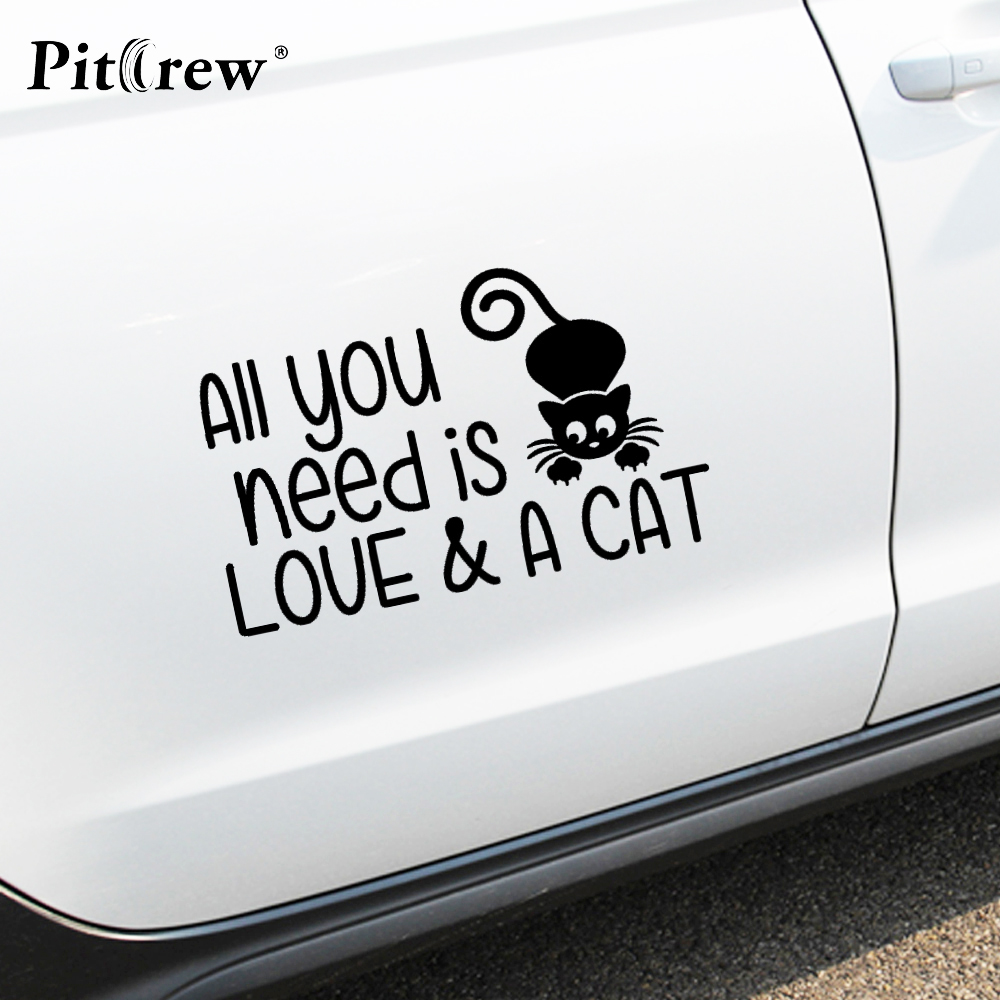 1PC High Quality 17*10.56cm Styling Stickers Funny Love and Cat Car Stickers Vinyl Decal Personality Waterproof Accessories(China (Mainland))
