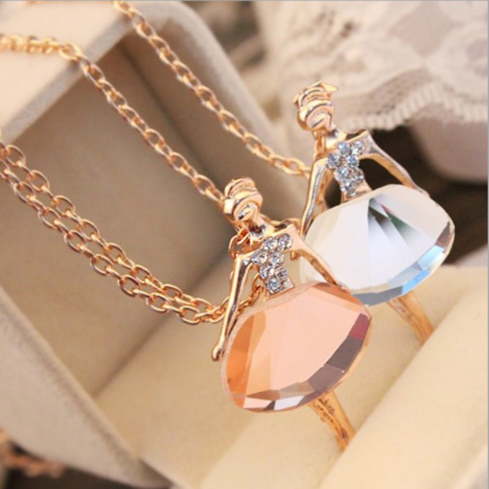 TOMTOSH 18K Gold Plated Sweater Chain Shiny Crystal Ballet Girl Pendant Necklace Statement Long Necklaces Jewelry Women