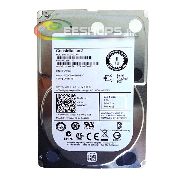 """for Dell 9W5WV Seagate Constellation 2 HDD ST91000640SS 1TB 7200 RPM SAS SATA 6Gb/s 2.5"""" Enterprise Server Hard Disk Drive Case(Hong Kong)"""