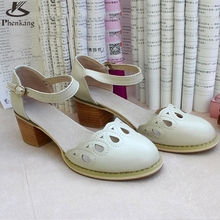 Genuine leather shoes women US size 9 handmade pink beige sandals 2016 England College Style oxford shoes for women pumps