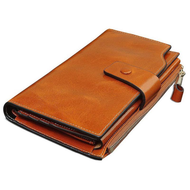 Гаджет  KIMO winter new European and American minimalist fashion envelope Ms. oil December 2 fold leather wallet long wallet wallet None Камера и Сумки
