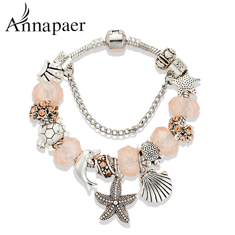 Ocean Style Starfish Charm Bracelet for Women With Blue Murano Glass Beads Turtles Charms Bracelets & Bangles DIY Jewelry B16024(China (Mainland))